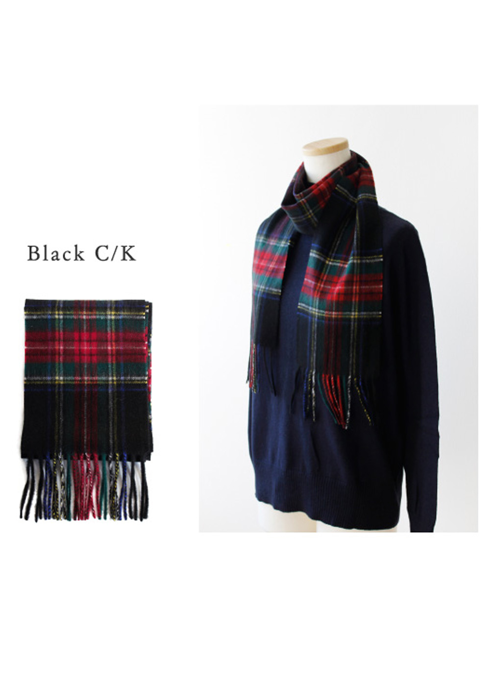 【最大59%OFF】Cashmere Wool Muffler|Black C/K|ストール|POMPADOUR