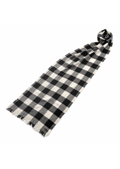 CASHMERE LOFT PLAIDS SCARF 【CREAM/GREY CHECK】