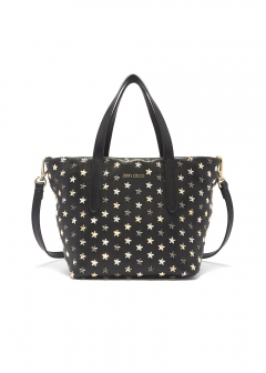 JIMMY CHOO - MINI SARA 2WAYバッグ / LEATHER WITH MINI STARS 【BLACK】